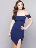 Navy Blue Slit Bardot Dress3