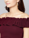 Maroon Frilled Bardot Crop Top2