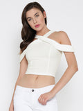 White Bodycon Crossover Cold Shoulder Crop Top1