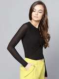 Black Front Knot Full Sleeve Bodycon Top4