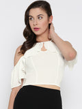 White Front Keyhole Detail Frilled Cold Shoulder Crop Top1