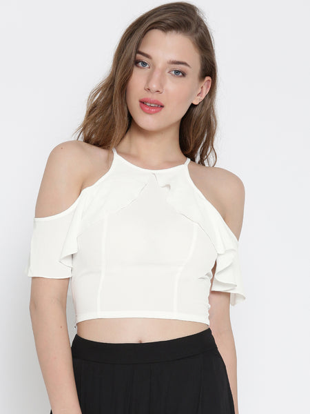 White Frilled Cold Shoulder Crop Top1