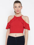 Red Frilled Cold Shoulder Crop Top1