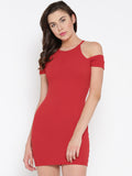 Red Cold Shoulder Bodycon Dress1