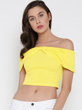 Yellow Bow Front Bardot Crop Top1