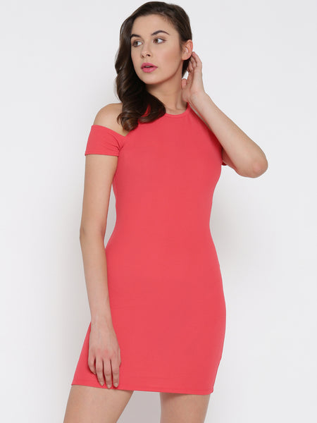 Coral Cold Shoulder Bodycon Dress1
