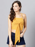 Mustard Front Knot Strappy Crop Top1