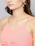 Peach Twist Knot Strappy Crop Top2