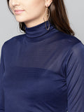 Navy Blue High Neck Full Sleeve Bodycon Top2