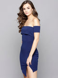 Navy Blue Slit Bardot Dress2