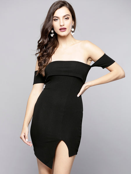 Black Slit Bardot Dress1
