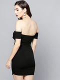 Black Slit Bardot Dress4