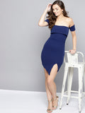Navy Blue Slit Bardot Dress1