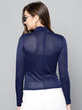 Navy Blue High Neck Full Sleeve Bodycon Top4