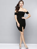 Black Slit Bardot Dress3