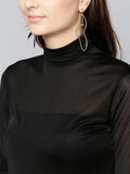 Black High Neck Full Sleeve Bodycon Top2