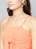 Peach Front Knot Strappy Crop Top4