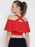 Red Frilled Strappy Crop Top