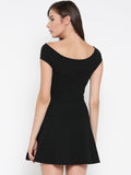 Black Bandage Bardot Skater Dress5