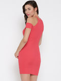 Coral Cold Shoulder Bodycon Dress2