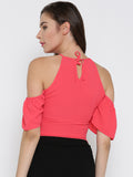 Coral Front Keyhole Detail Frilled Cold Shoulder Crop Top