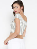 White Striped Bandage Bardot Crop Top