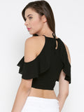 Black Frilled Cold Shoulder Crop Top