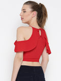 Red Frilled Cold Shoulder Crop Top2