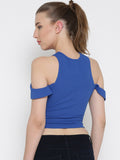 Blue Bodycon Crossover Cold Shoulder Crop Top5