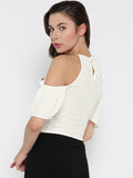 White Front Keyhole Detail Frilled Cold Shoulder Crop Top5
