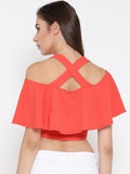 Coral Frilled Strappy Crop Top