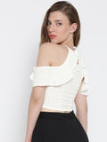 White Frilled Cold Shoulder Crop Top2