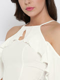 White Front Keyhole Detail Frilled Cold Shoulder Crop Top6