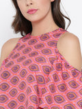 Red and Pink Paisley Bell Sleeve Cold Shoulder Crop Top6