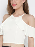 White Frilled Cold Shoulder Crop Top3