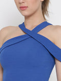 Blue Bodycon Crossover Cold Shoulder Crop Top6