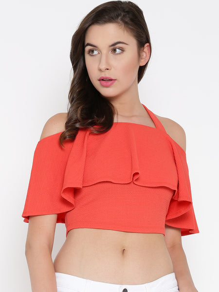 Coral Frilled Strappy Crop Top1