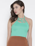 Green Cage Tie Back Crop Top
