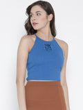 Sea Blue Faux Lace-up Crop Top