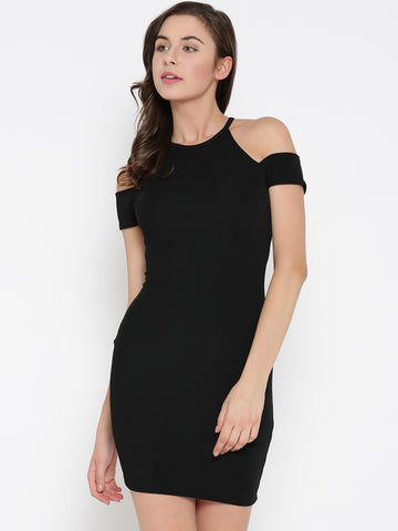 Black Cold Shoulder Bodycon Dress1