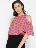 Red and Pink Paisley Bell Sleeve Cold Shoulder Crop Top