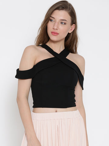Black Bodycon Crossover Cold Shoulder Crop Top