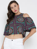 Green Print Bell Sleeve Cold Shoulder Crop Top