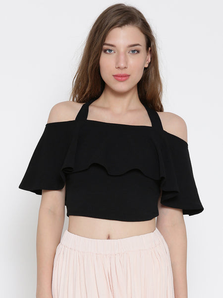 Black Frilled Strappy Crop Top1
