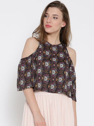 Black Paisley Bell Sleeve Cold Shoulder Crop Top