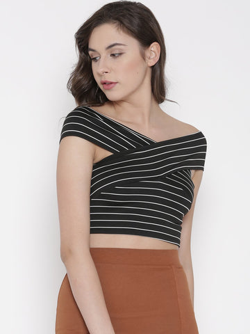 Black Striped Bandage Bardot Crop Top