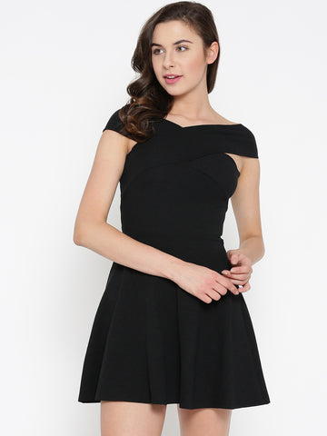 Black Bandage Bardot Skater Dress1
