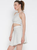 White Striped Co-Ordinate Halter Skater Dress