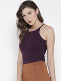 Wine Faux Lace-up Crop Top