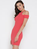 Coral Cold Shoulder Bodycon Dress4